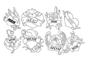 Kostenlose Mama Tattoo Vektor