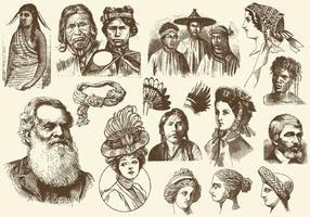 Sepia frisyrer och huvudbonad illustrationer
