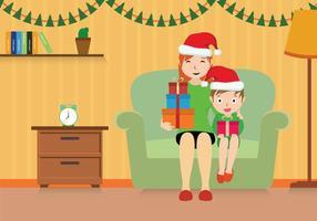 Gratis mamma och barn julillustration