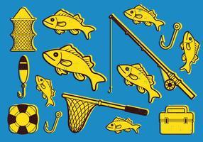Fiske ikonuppsättning vektor