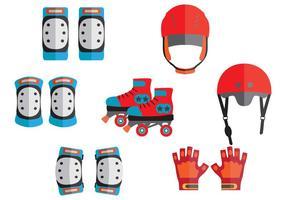 Schutzausrüstung für Roller Skate Vektoren