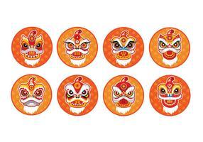 Chinesische Neujahr Löwe Tanz Kopf Flach Vektor Icon Set