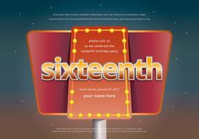 Süße 16 Illustration Geburtstags-Einladungs-Schablone vektor