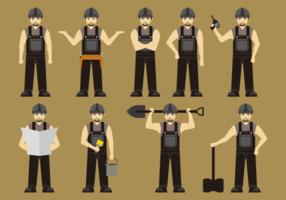 Bauarbeiter in schwarzen Overalls