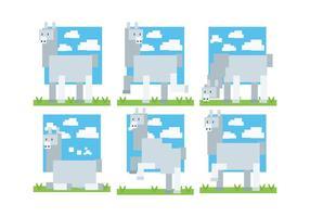 Pixel Style Alpaca Ikoner Vector