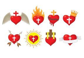Heliga hjärta ikoner vektor