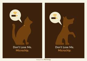 Freie Haustiere Microchip Vektor Poster