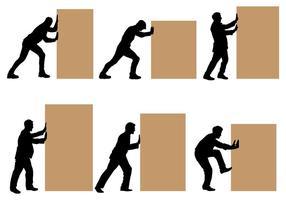 Free Man Pushing Block Vektoren
