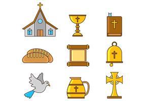 Set von Comunion Icons vektor