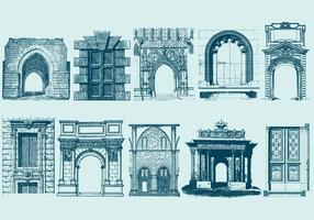 Blaue Türen Portale und Bogen vektor