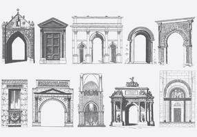 Graue Türen Portale und Bogen vektor