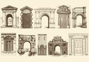 Sepia Türen Portale und Bogen vektor