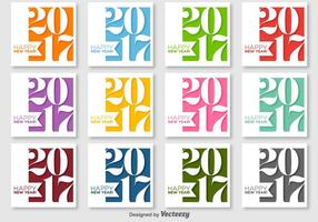 Frohes neues Jahr 2017 Vector Labels