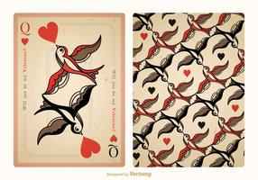 Gratis Vector Vintage Valentine Playing Card Tillbaka