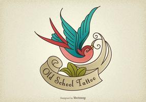 Kostenlose Old School Tattoo Schwalbe Vektor