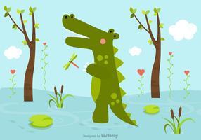 Gratis Cartoon Crocodile In Swamp Vector