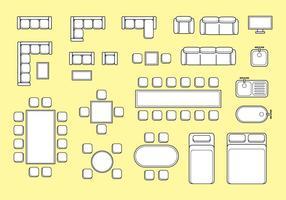 Gratis golvplan möbler vektor