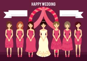 Hochzeit Braut und Brautjungfern Cartoon Illustration