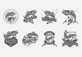 Walleye Vector Etiketter