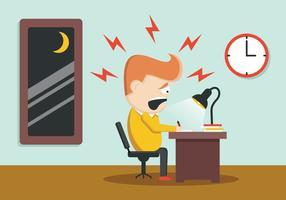 Utmattad affärsman på sitt skrivbord vektor