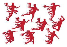 Handball schießen mit Feuervektoren vektor