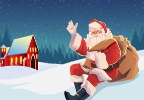 Sinterklaas sitter i snövektorn