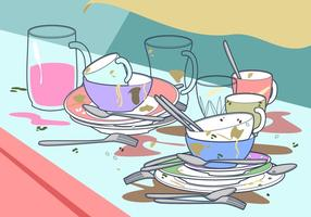 Dirty Dishes Freier Vektor