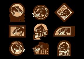 Walleye Vektor Etiketten