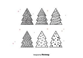 Hand gezeichnet Weihnachtsbäume Vektor