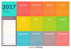 2017 Neujahrskalender und Vektorvorlagen vektor
