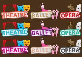 Teater och balletttitlar vektor