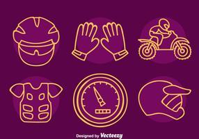 Motocross Element Line Icons Vektor