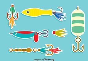 Trevligt fiske locket vektor uppsättning