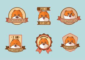 Söt Pomeranian Dog Logo Label Vectors