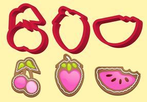Cookie cutter frukt vektor set b