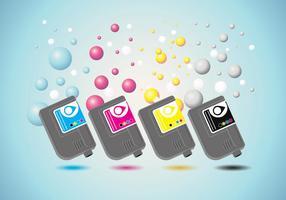 Tintenpatronen Vektor mit Tinte Blase Hintergrund