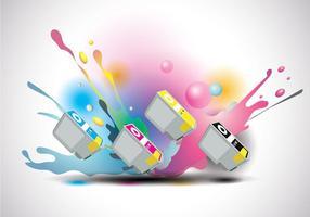 Tintenpatronen Vektor mit Tinte Splatter Hintergrund