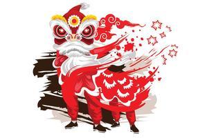 Vector Ink Style Illustration Traditionell kinesisk Lion Dance Festival Bakgrund