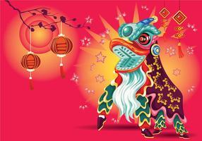 Vektor-Illustration Traditionelle Chinesische Löwen Tanz Festival Hintergrund vektor
