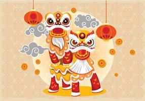 Chinesse Lion Tanz und Paar Vektor