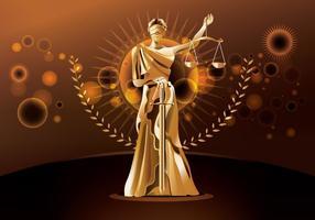 Staty of Justice på brun bakgrund vektor