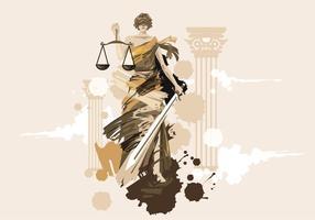 Dame der Gerechtigkeit-vektormalerei vektor