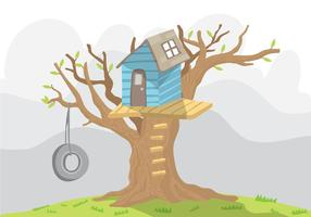 Blå TreeHouse Vector With Swing