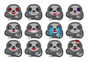 Gratis Cartoon Sloth Emoticons Vector