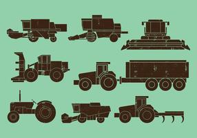 Jordbruksmaskiner Traktorer Kombinera ikoner vektor
