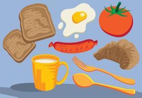 Frukost ikoner livsmedel vektor