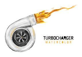 Freier Turbolader-Aquarell-Vektor