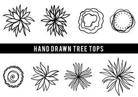 Fri hand dras träd toppen vektor