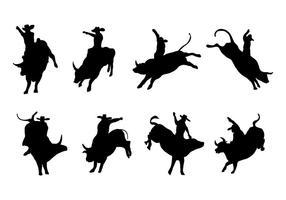 Gratis Silhouette Bull Rider Vector