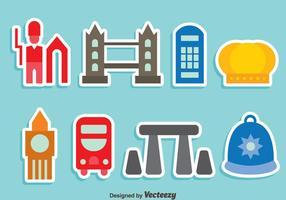 Förenade kungariket element färgglada ikoner vektor